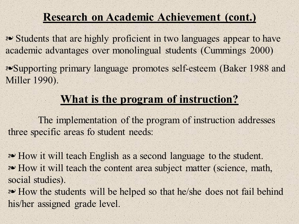 Research on Academic Achievement (cont.)
