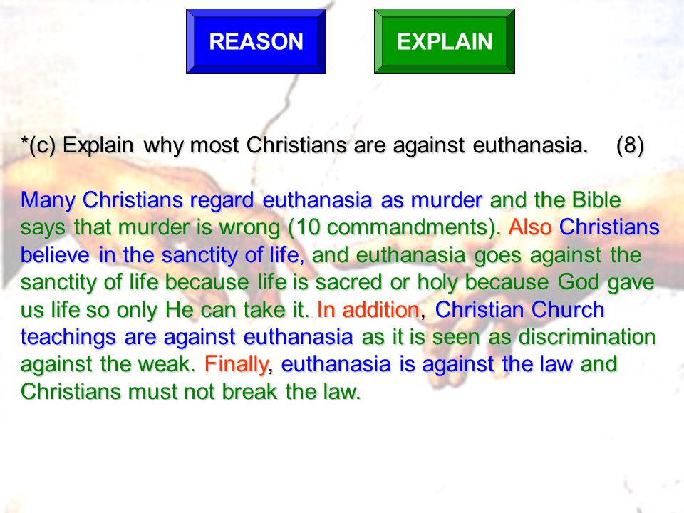 *(c) Explain why most Christians are against euthanasia. (8)