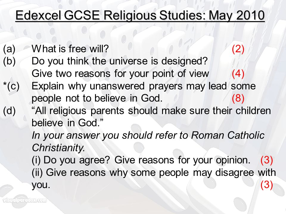 Edexcel GCSE Religious Studies: May 2010