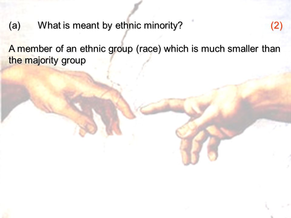 (a) What is meant by ethnic minority (2)