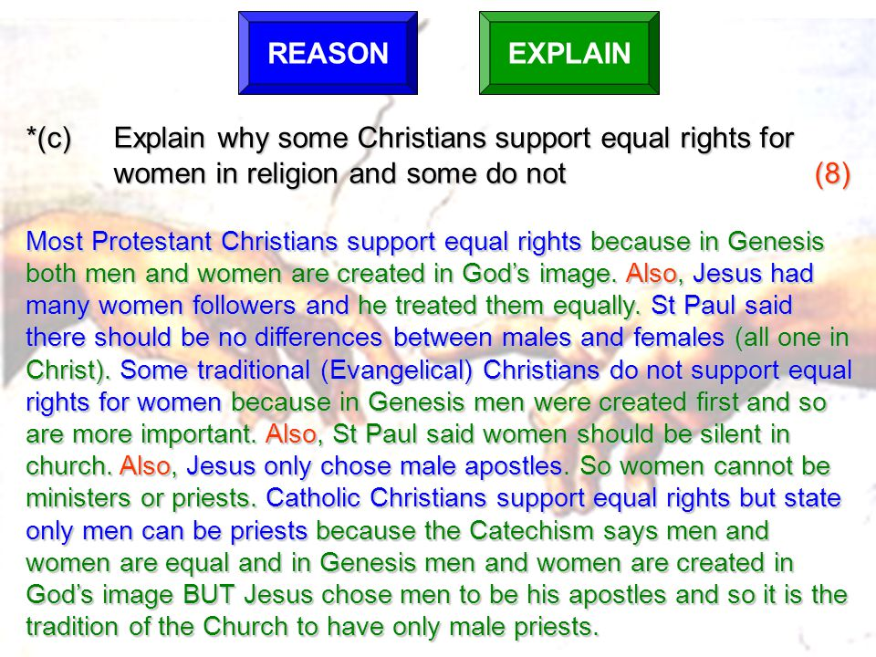 REASON EXPLAIN. *(c) Explain why some Christians support equal rights for women in religion and some do not (8)