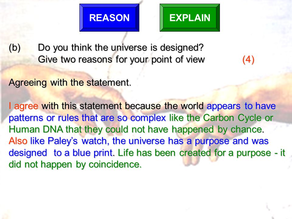 (b) Do you think the universe is designed