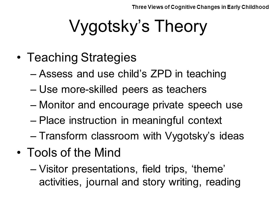Vygotsky's Theory Teaching Strategies Tools of the Mind