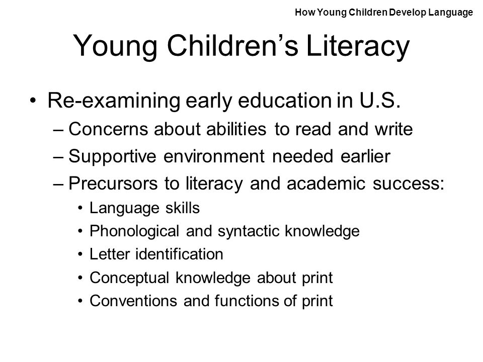 Young Children's Literacy