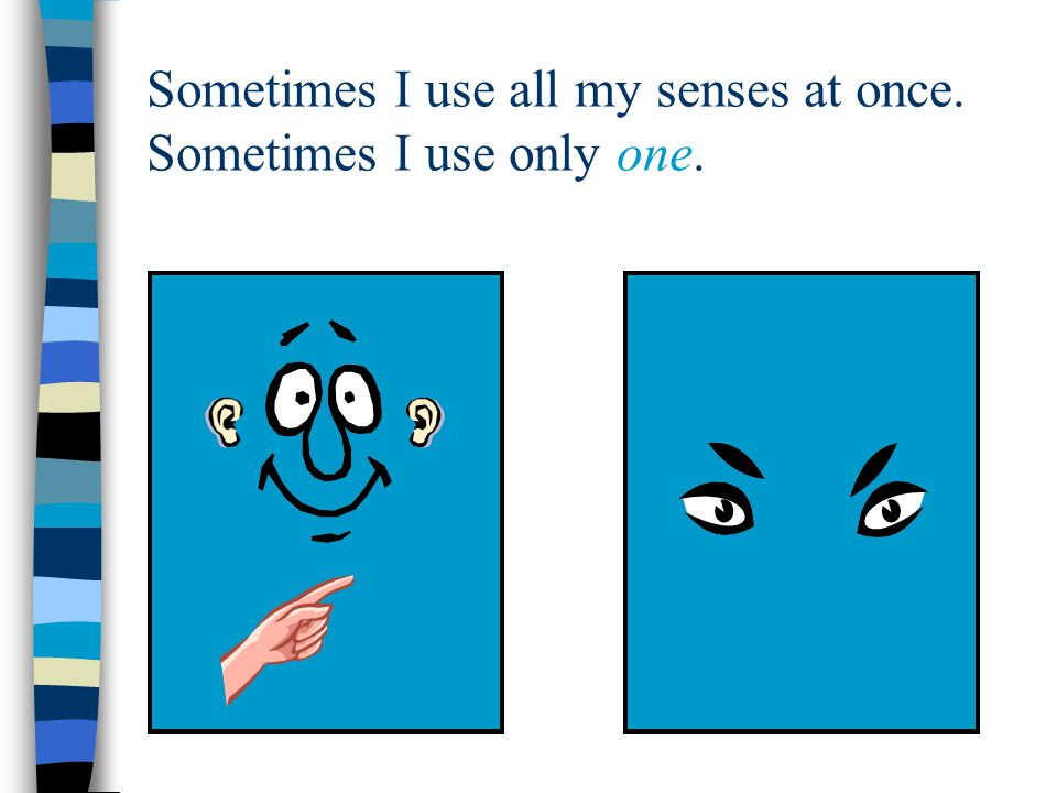 Sometimes I use all my senses at once. Sometimes I use only one.