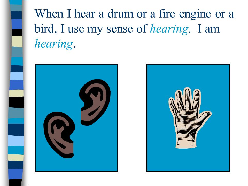 When I hear a drum or a fire engine or a bird, I use my sense of hearing. I am hearing.