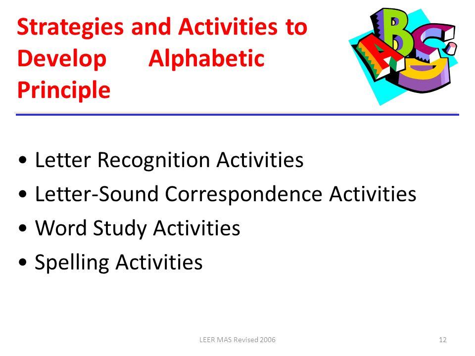 Strategies and Activities to Develop Alphabetic Principle