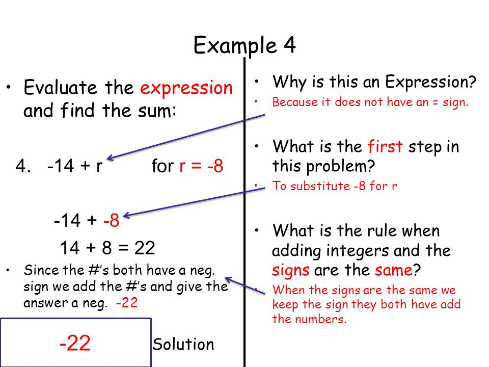 Example Evaluate the expression and find the sum: