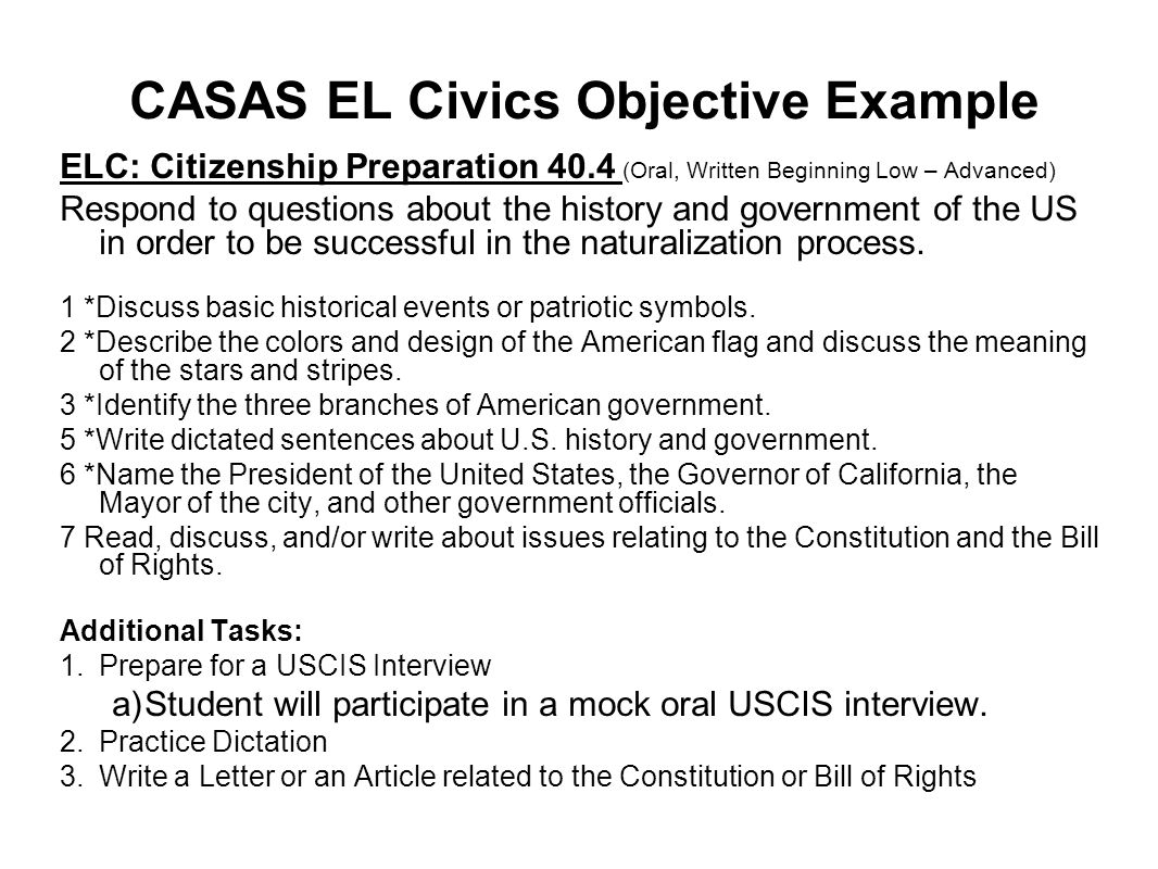 CASAS EL Civics Objective Example