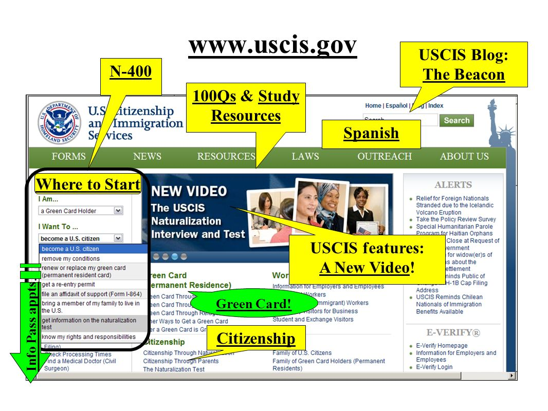 www.uscis.gov USCIS Blog: The Beacon N-400 100Qs & Study Resources