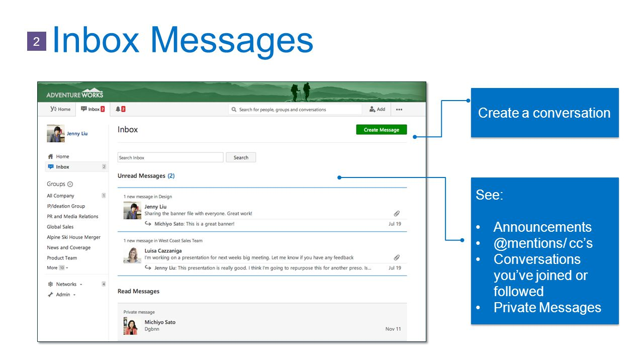 Inbox Messages Create a conversation See: Announcements