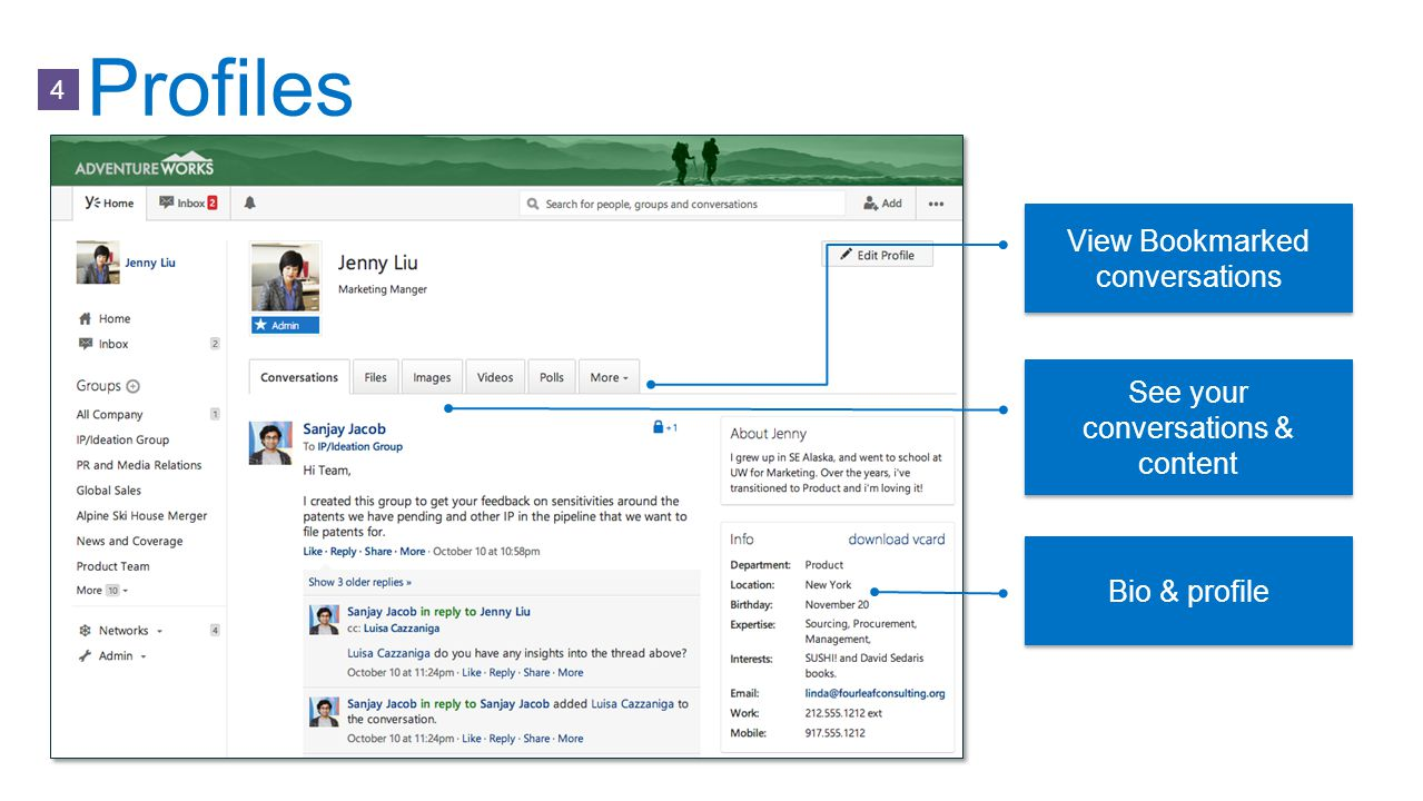 Profiles View Bookmarked conversations