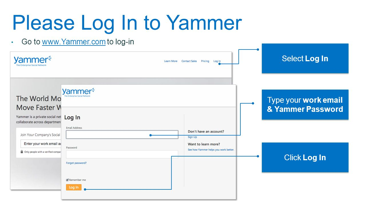 Type your work email & Yammer Password