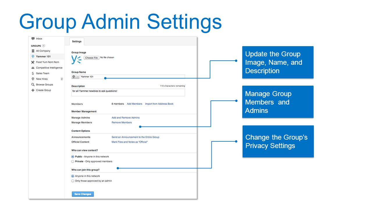 Group Admin Settings Update the Group Image, Name, and Description