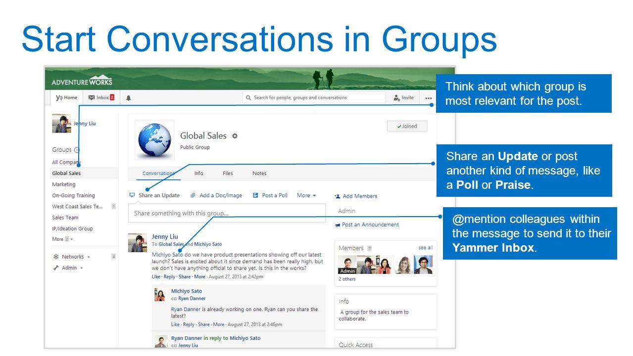 Start Conversations in Groups