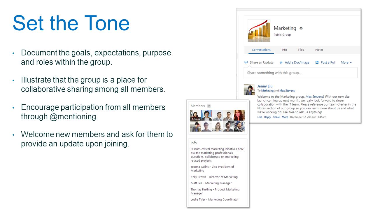 Set the Tone Document the goals, expectations, purpose and roles within the group.