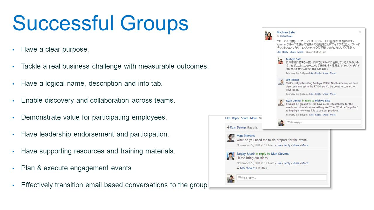 Successful Groups Have a clear purpose.