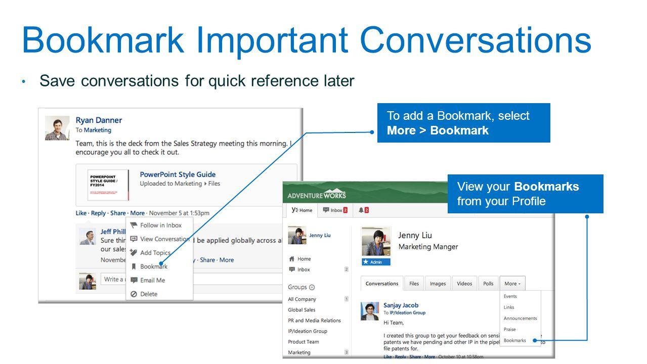 Bookmark Important Conversations