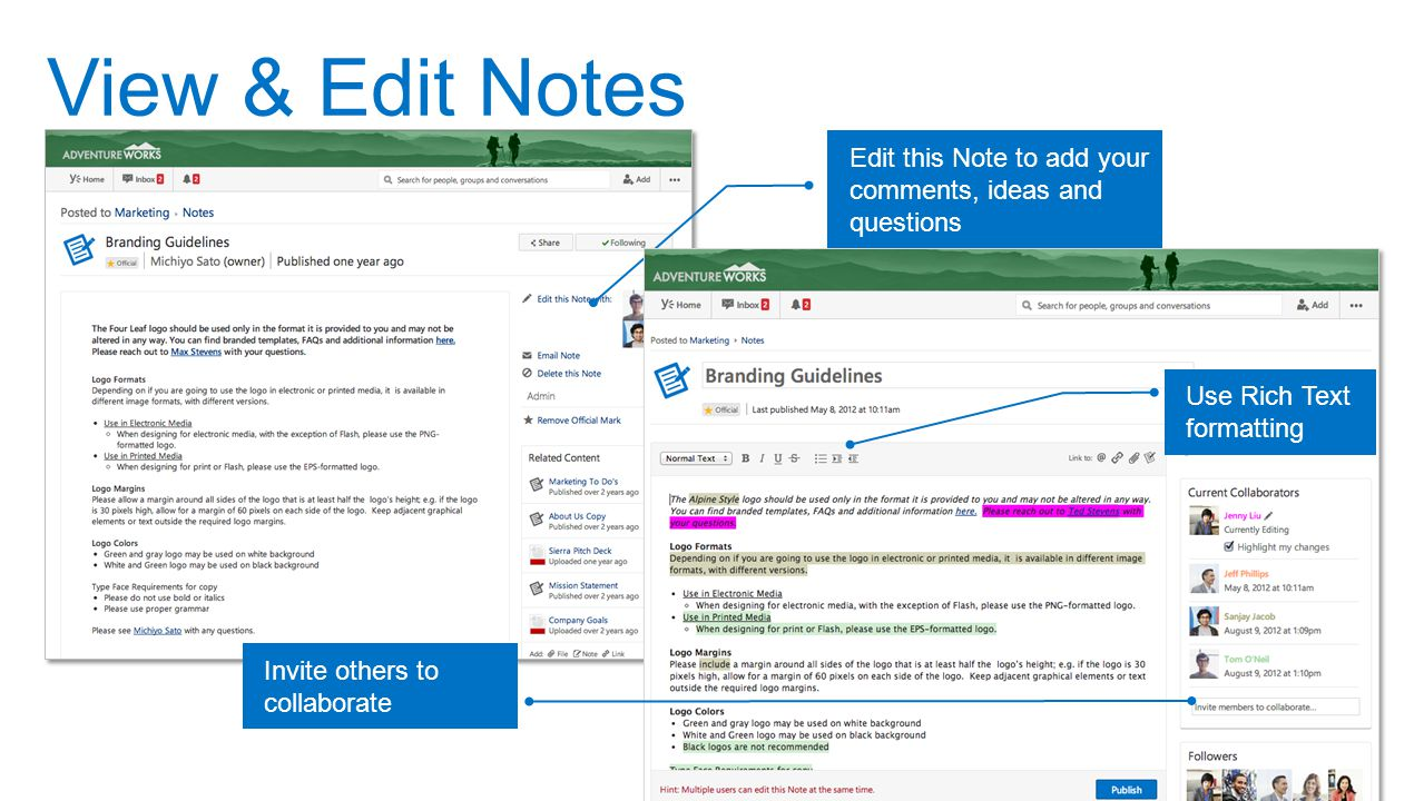 View & Edit Notes Edit this Note to add your comments, ideas and questions. Use Rich Text formatting.