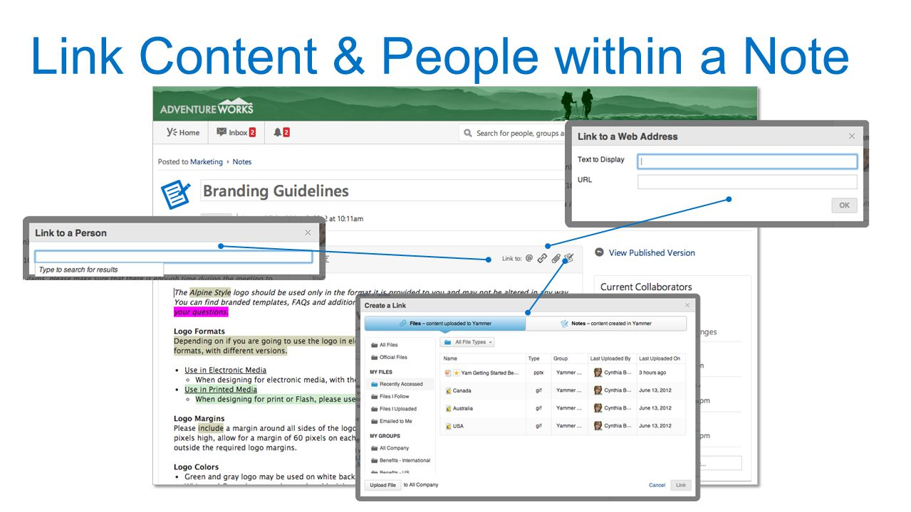 Link Content & People within a Note