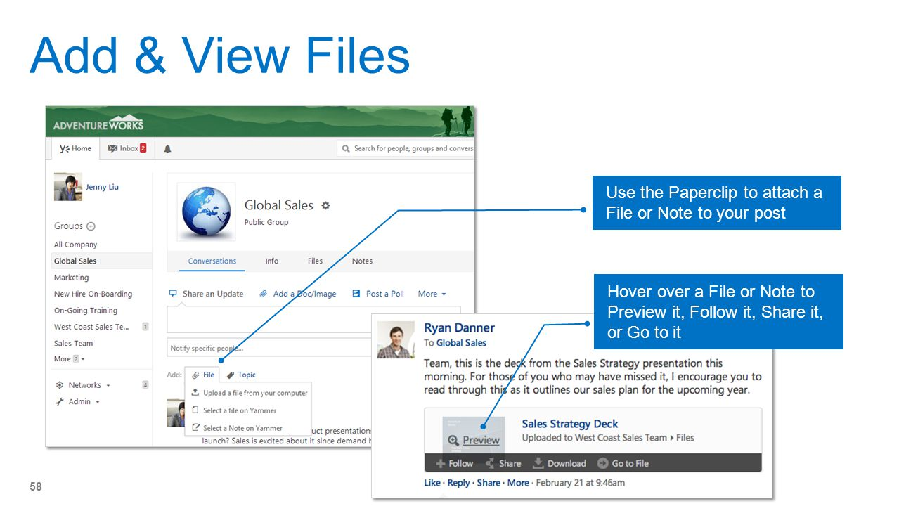 Add & View Files Use the Paperclip to attach a File or Note to your post. Hover over a File or Note to Preview it, Follow it, Share it, or Go to it.