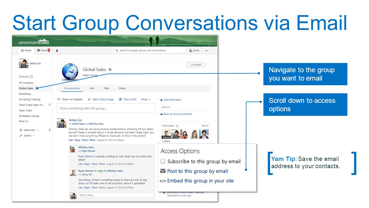 Start Group Conversations via Email
