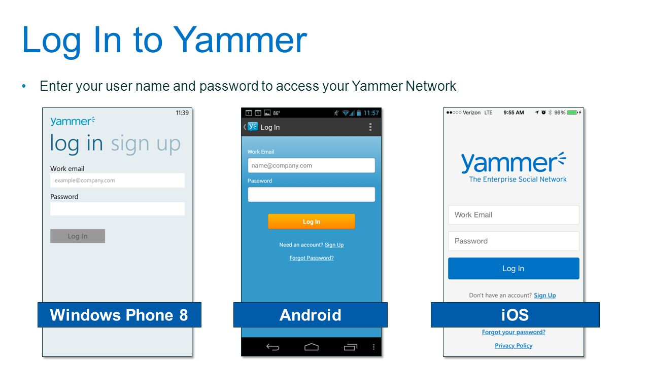 Log In to Yammer Windows Phone 8 Android iOS