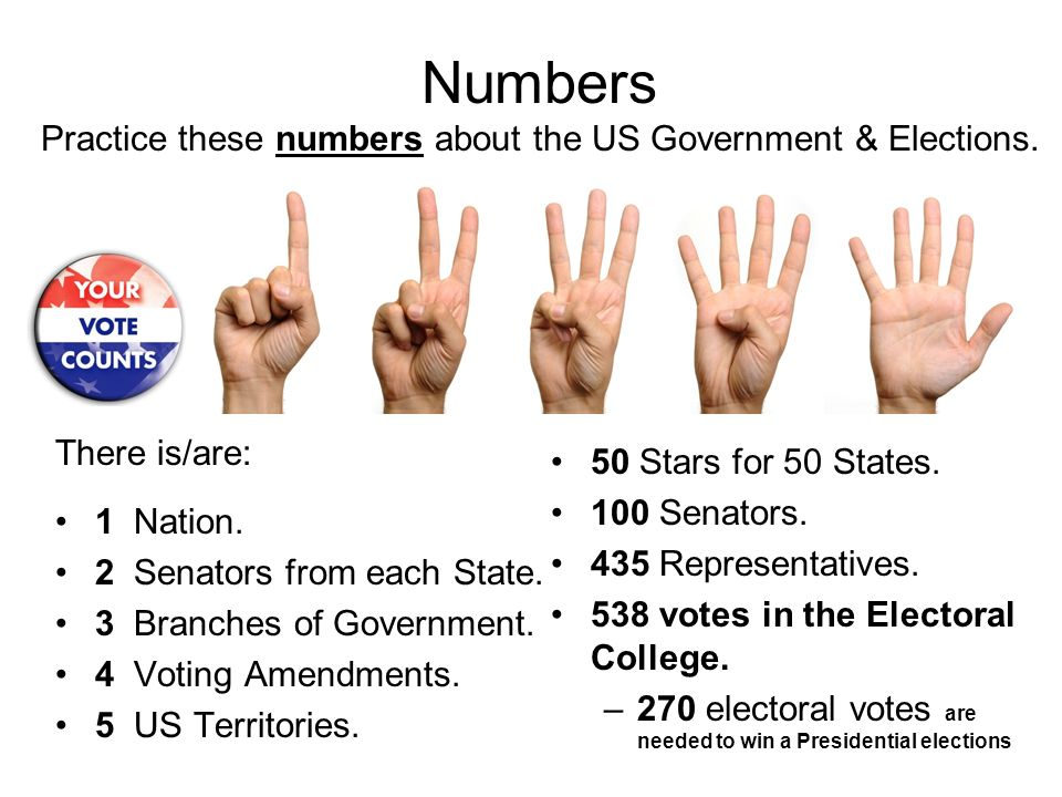 Numbers Practice these numbers about the US Government & Elections.