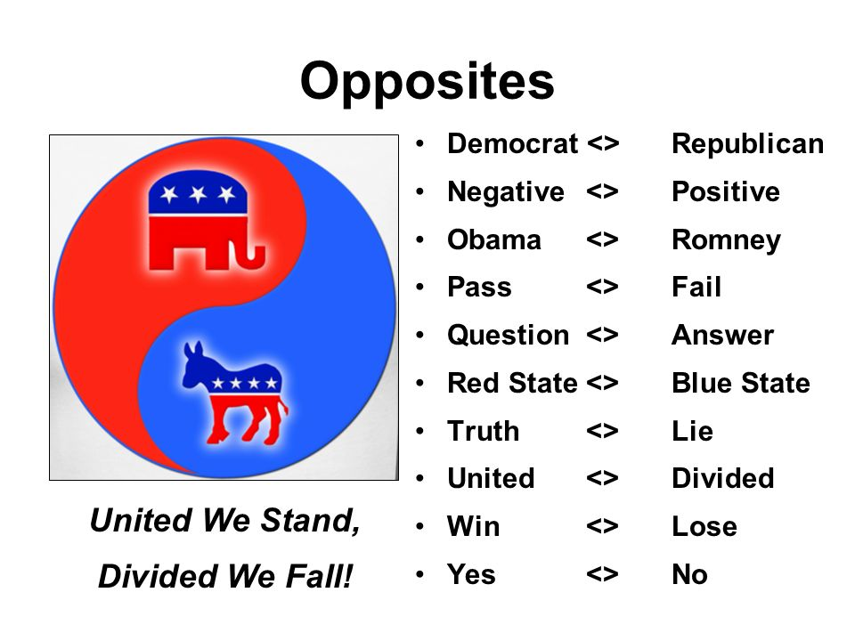 Opposites United We Stand, Divided We Fall!