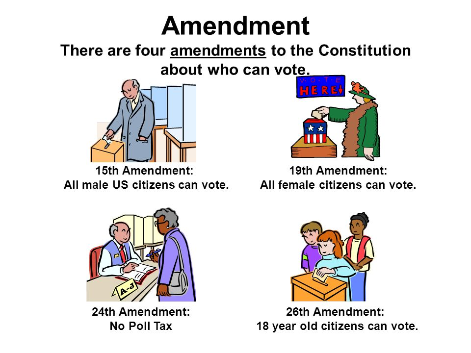 Amendment There are four amendments to the Constitution about who can vote.