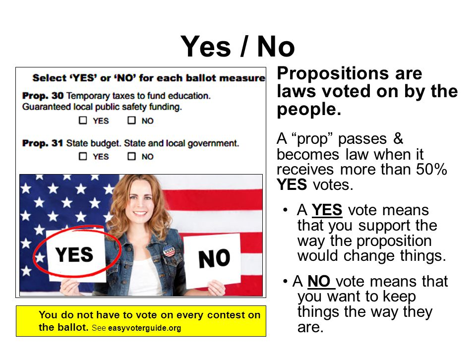 Yes / No Propositions are laws voted on by the people.