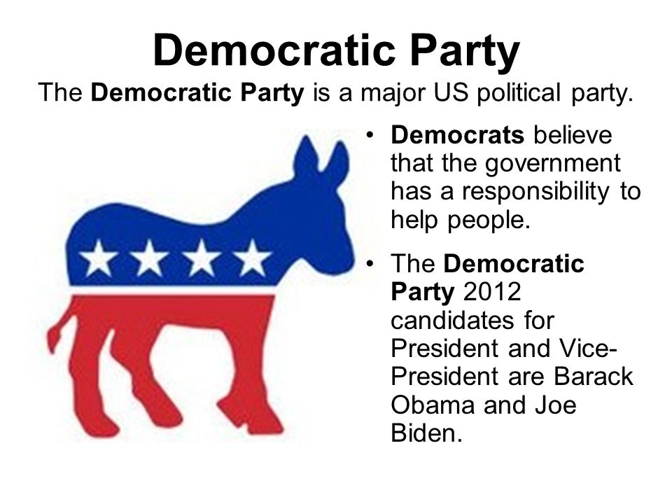 Democratic Party The Democratic Party is a major US political party.