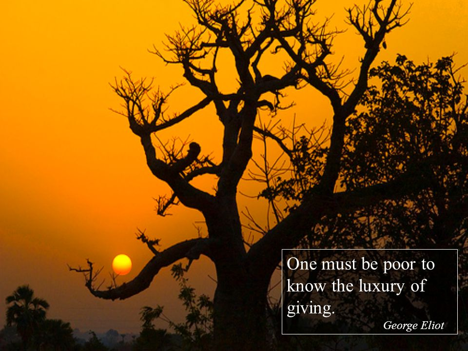 One must be poor to know the luxury of giving. George Eliot