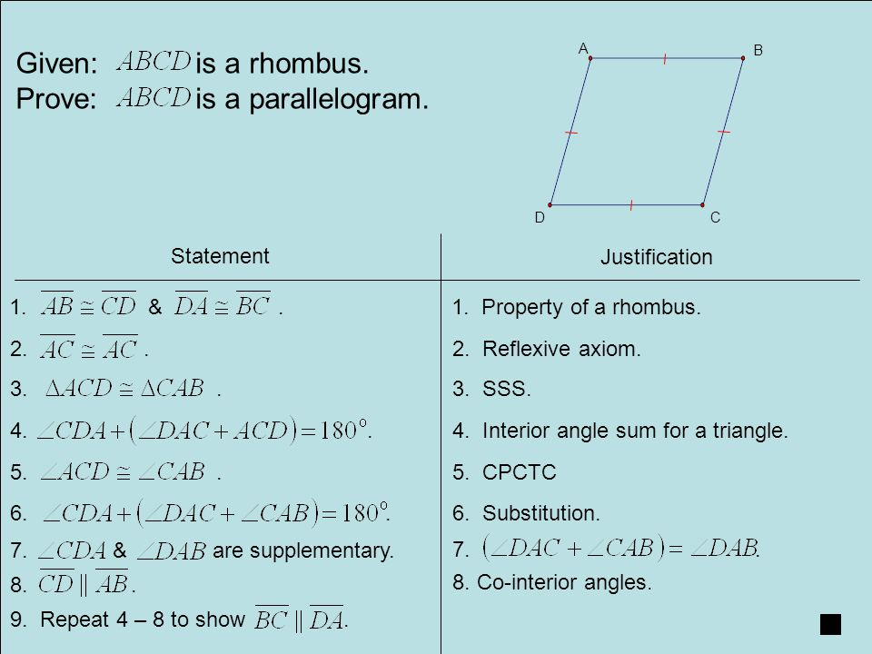Given Is A Rhombus Prove Is A Parallelogram