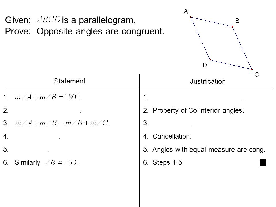Given: is a parallelogram. Prove: Opposite angles are congruent.
