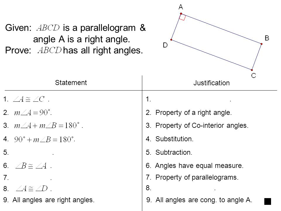 Given: is a parallelogram &. angle A is a right angle
