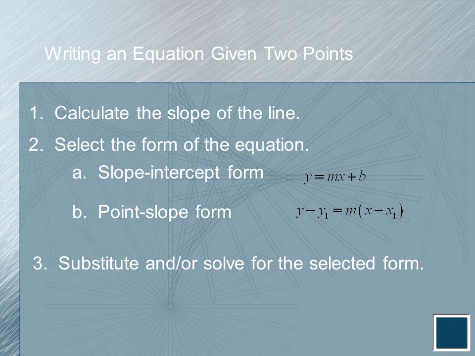 Writing an Equation Given Two Points