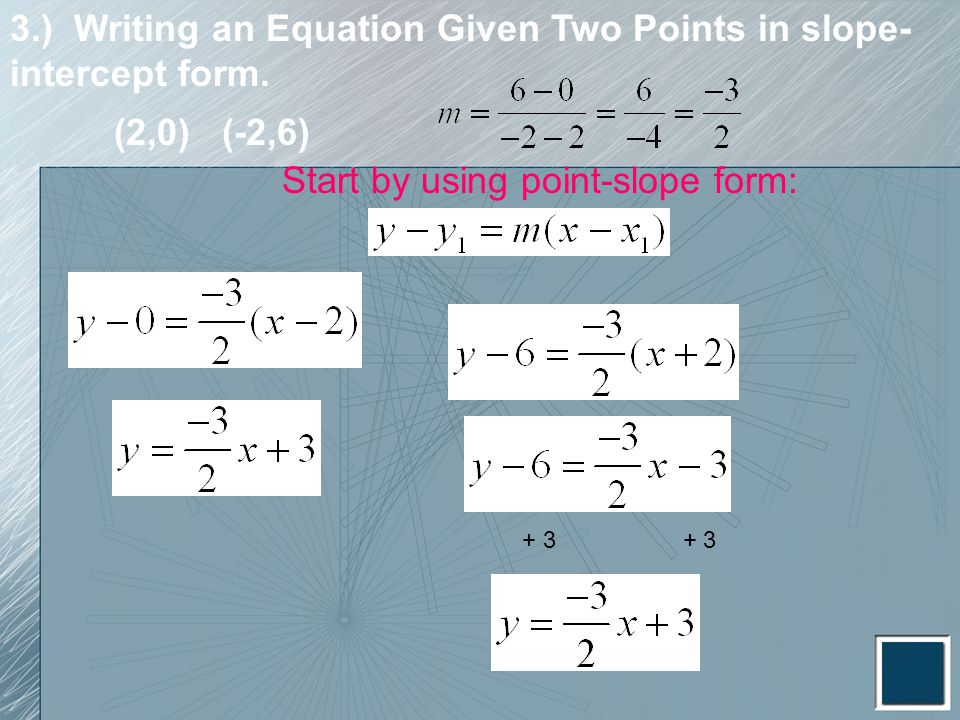 3.) Writing an Equation Given Two Points in slope-intercept form.