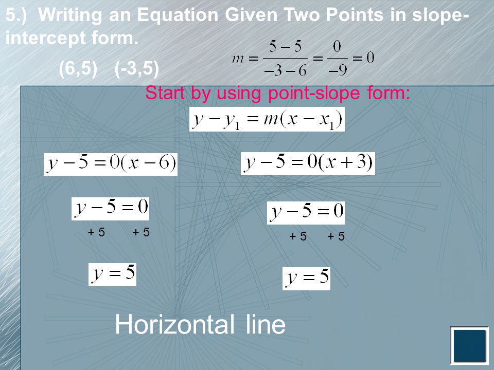 5.) Writing an Equation Given Two Points in slope-intercept form.