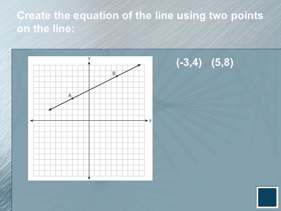 Create the equation of the line using two points on the line: