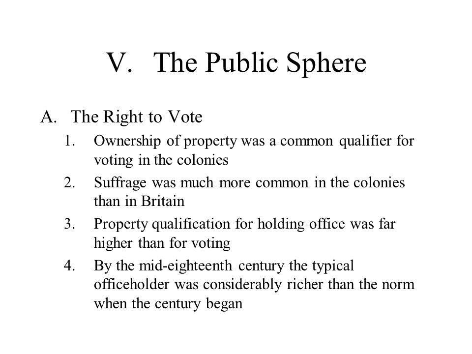 V. The Public Sphere The Right to Vote