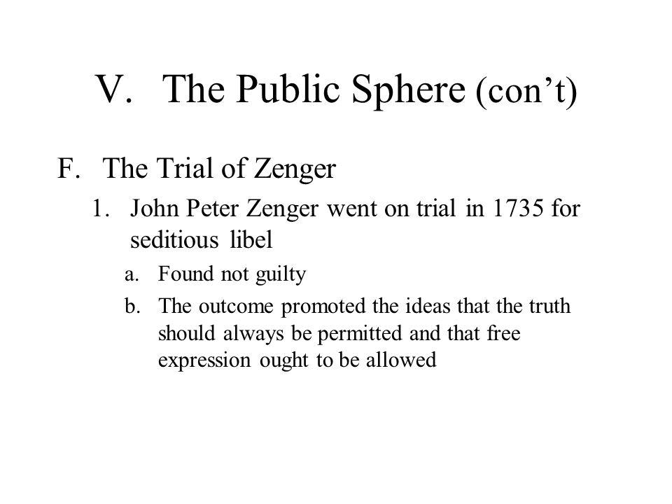 V. The Public Sphere (con't)