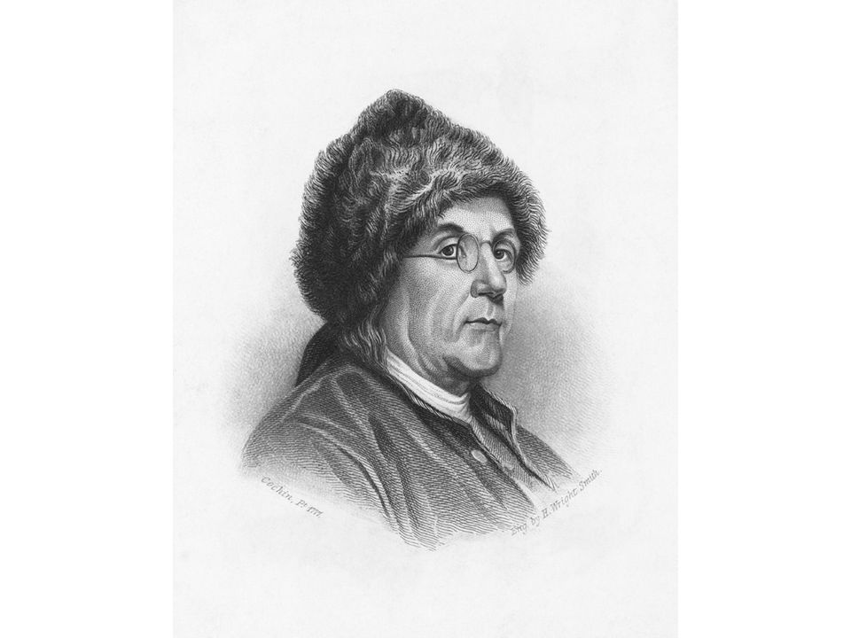 fig04_17_1.jpg Page 145: A portrait of Benjamin Franklin in fur hat and spectacles, dated 1777, depicts him as a symbol of America.