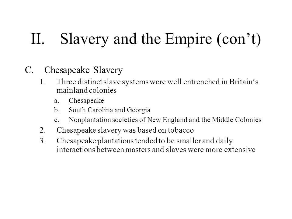 II. Slavery and the Empire (con't)