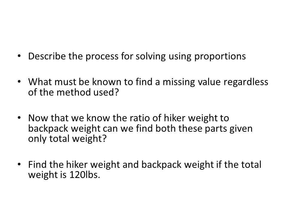 Describe the process for solving using proportions