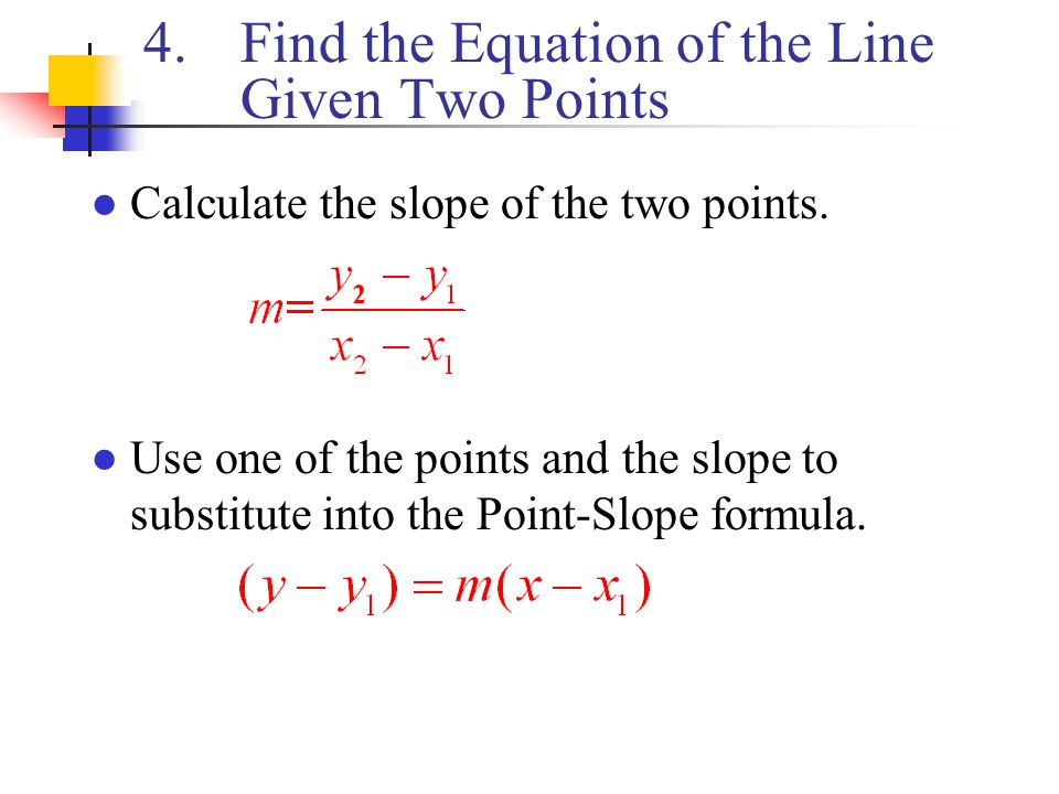 Find the Equation of the Line Given Two Points