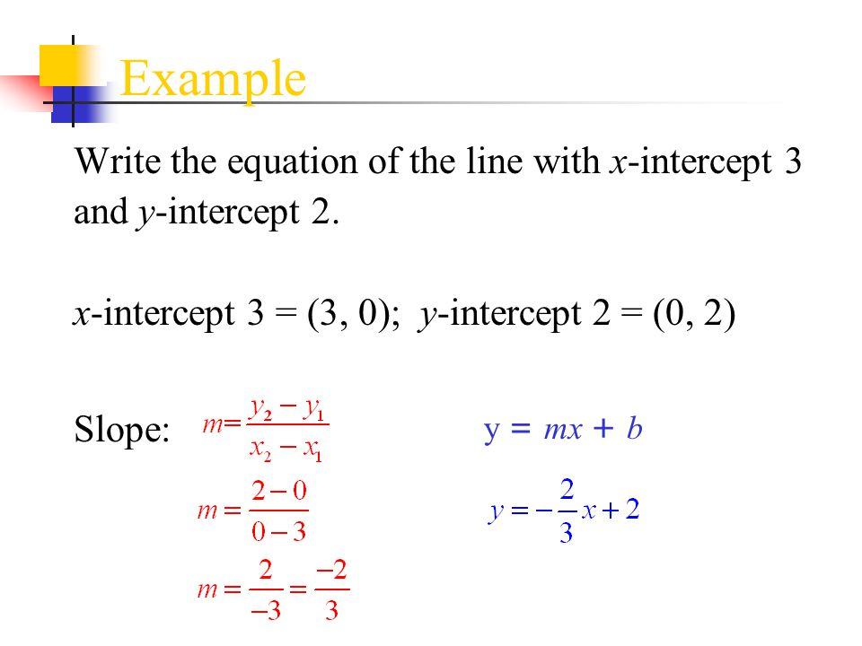 Example Write the equation of the line with x-intercept 3