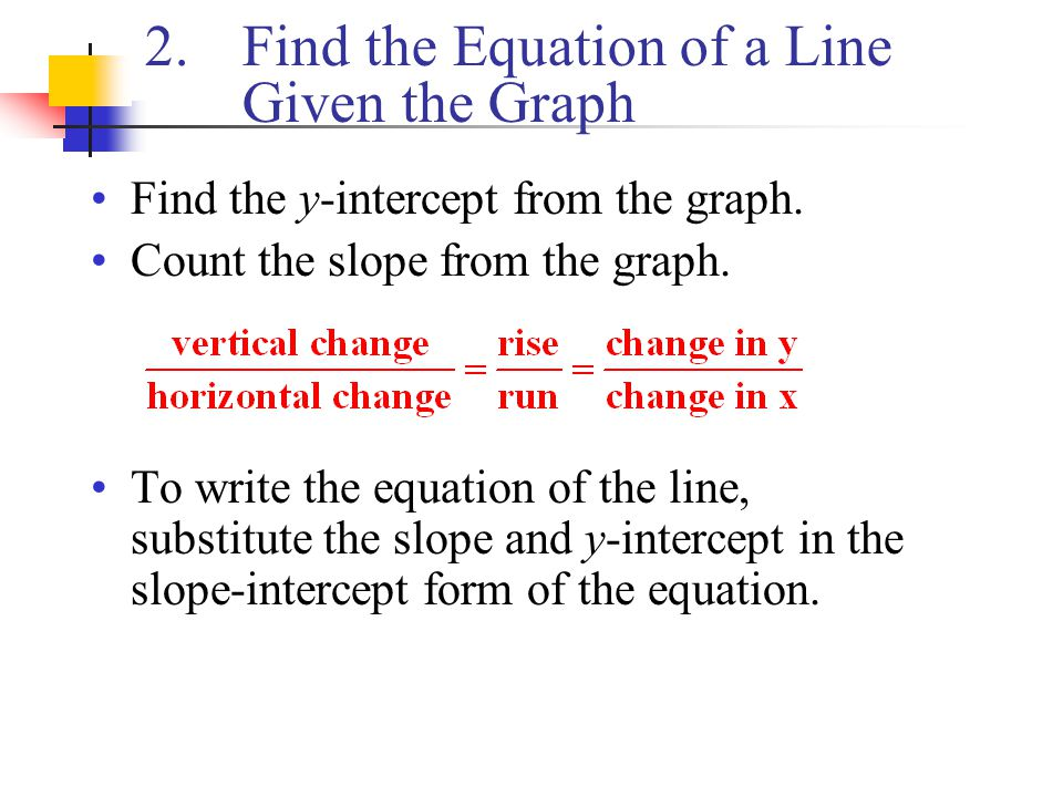 Find the Equation of a Line Given the Graph