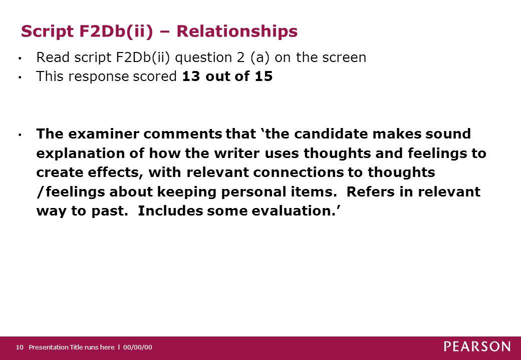 Script F2Db(ii) – Relationships
