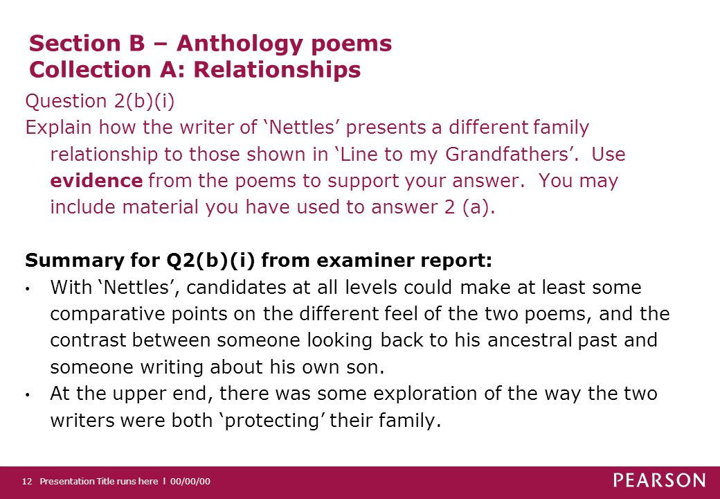 Section B – Anthology poems Collection A: Relationships